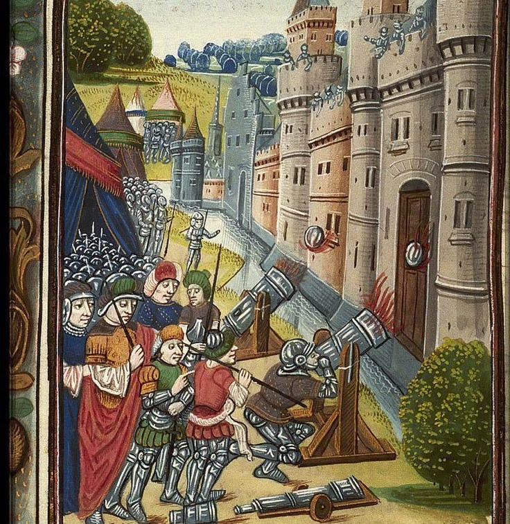 The Hague, KB, 128 C 1 I	  fol. 403v  Book 17: Chapter 1  Siege of a city