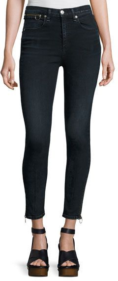 Rag & Bone O-Ring Dive Capri Jeans, Black Brook