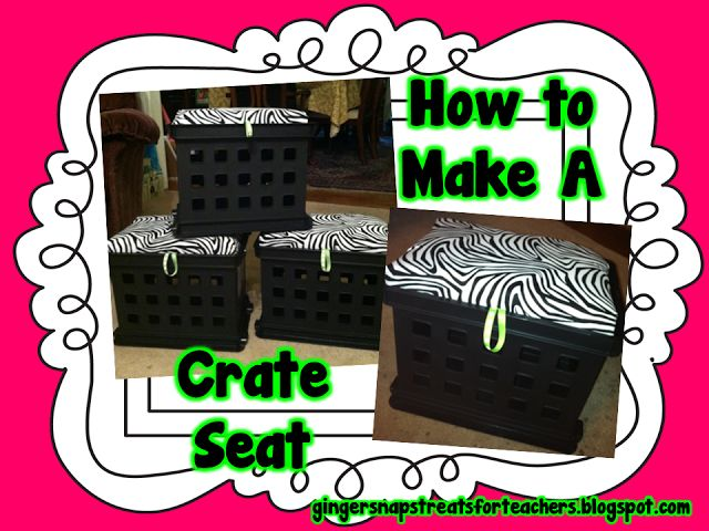 Detailed directions on how to make extra seating and storage from a plastic crate for a small dorm room