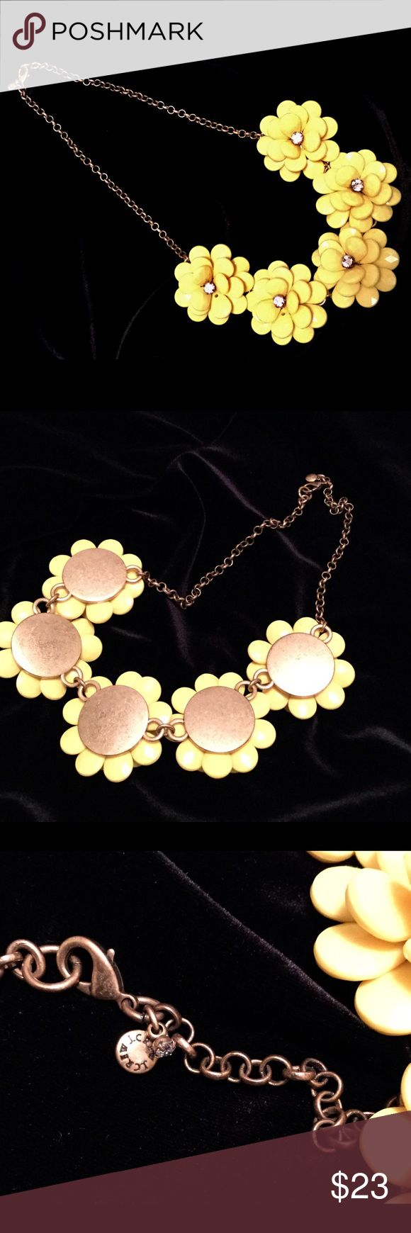 "J. Crew Statement Necklace Very, very pretty yellow flowers on bronze chain. J. Crew is on the clasp with tiny clear rhinestone. Excellent condition, worn once. 21"" total length and adjustable. Comes with bag. J. Crew Jewelry Necklaces"