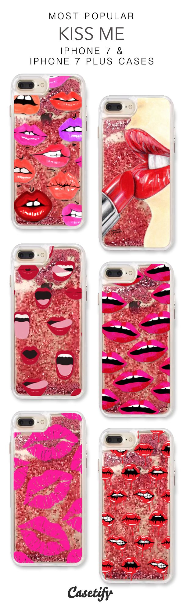 Most Popular Kiss Me iPhone 7 Cases & iPhone 7 Plus Cases. More protective liquid glitter lipstick iPhone case here > https://www.casetify.com/en_US/collections/iphone-7-glitter-cases#/?vc=ZK7gBrJzab