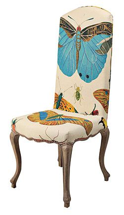 Design Legacy's charming cabriole leg chair, upholstered in hand-screened natural linen.