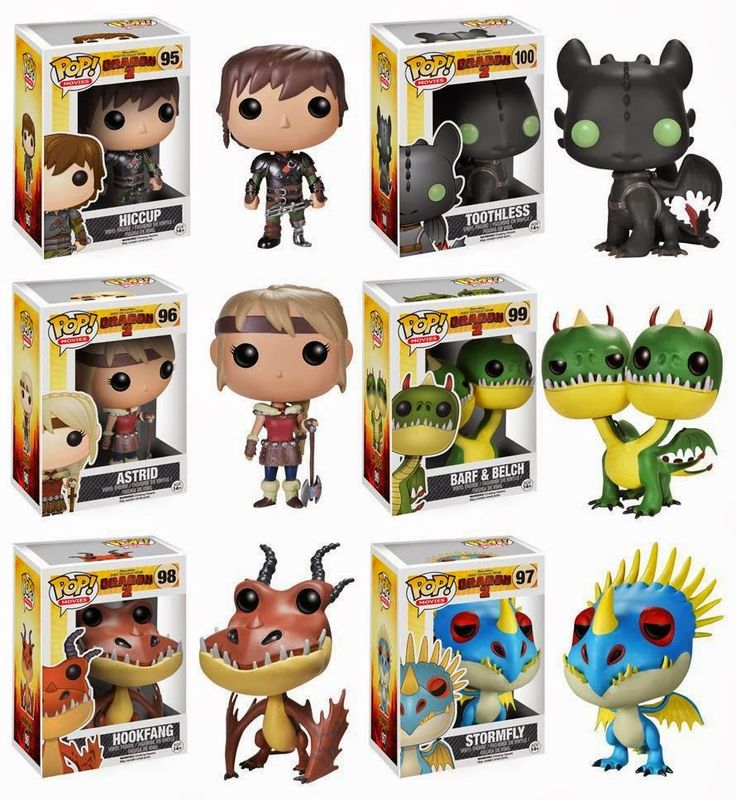 How to Train Your Dragon 2 Pop! Movies Vinyl Figures by Funko - Hiccup, Toothless, Astrid, Barf Belch, Hookfang Stormfly