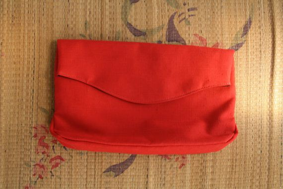 Cherry red clutch bag. Red 80s purse. Red by SwanDiveVintage, $20.00