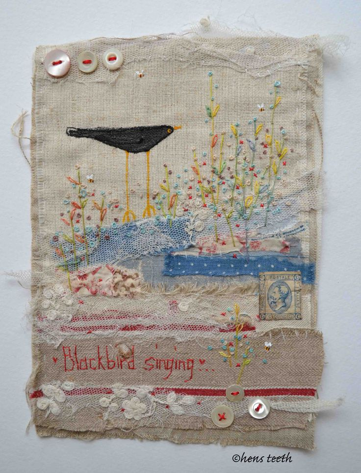 Blackbird singing textile artwork, hand painted and embroidered .... http://www.madebyhandonline.com/by/hens_teeth/