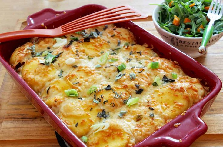 This lasagna has creamy potato layered with cheese that melts in your mouth. With a touch of tang, as a standing ovation, from topping it with sour cream.