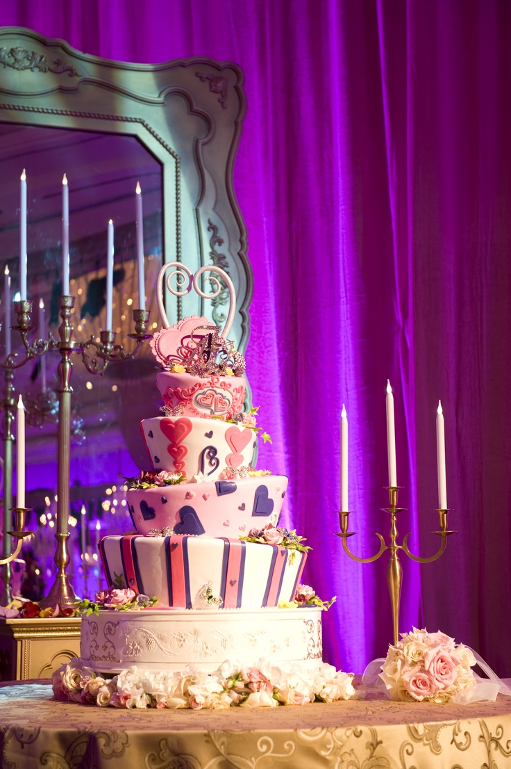 Stripes and hearts Mad Hatter wedding cake