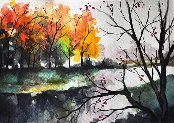 ORIGINAL Watercolor Painting, Postcard Sized Art, Autumn Trees, Colorful Landscape 4x6 inch