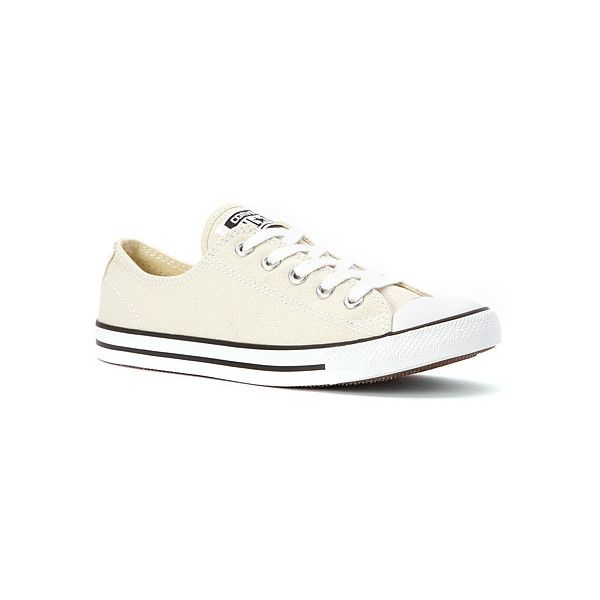 Converse Chuck Taylor Dainty Low Top Sneaker ($49) ❤ liked on Polyvore featuring shoes, sneakers, athletic-inspired, seashell off white, women's, low tops, off white shoes, print shoes, print sneakers and stripe shoes