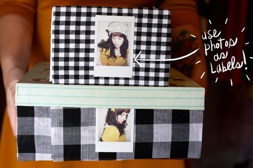 Fabric storage boxes!  Using Photos as labels is a great idea.