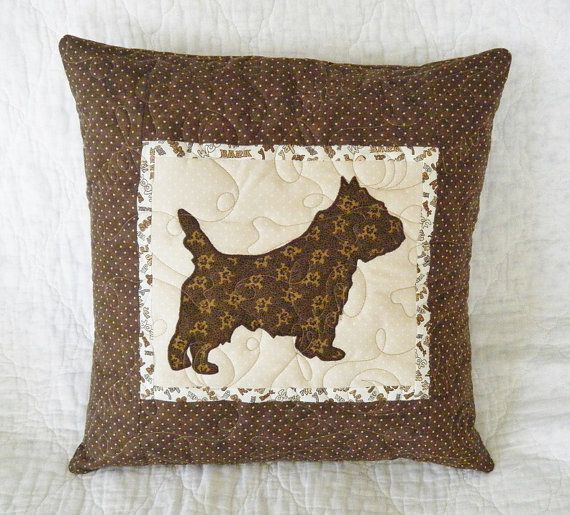 CARIN TERRIER  - Quilted Dog throw pillow 16 inches