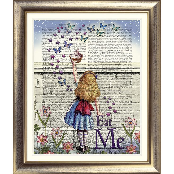 ART PRINT ON ORIGINAL ANTIQUE BOOK PAGE Vintage Alice in Wonderland Picture Wall in Home, Furniture & DIY, Home Decor, Wall Hangings | eBay