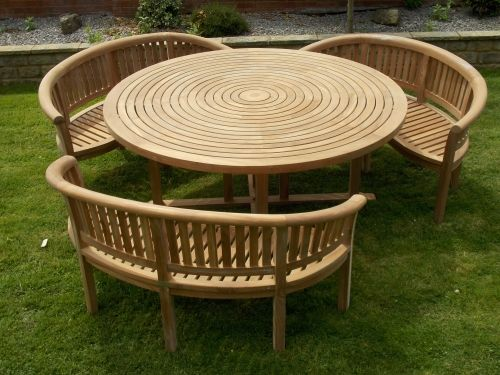 Teak Swirl Table With 3 Bowood Benches To Off Fast Delivery For High  Quality Teak Garden Furniture Chelsea Home And Leisure Ltd