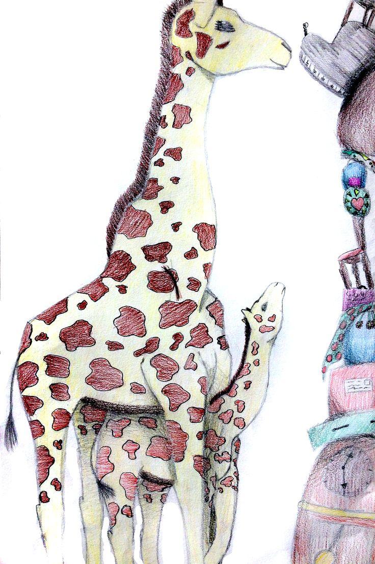 eigen ontwerp van een leerlinge van 14 jaar: giraffe en muis oog in oog. Hoe krijg je muis op dezelfde hoogte om met giraffe te communiceren?..uitwerking met kleurpotlood en schaduwwerking. Mooi werk dat zo in een  prentenboek kan staan!
