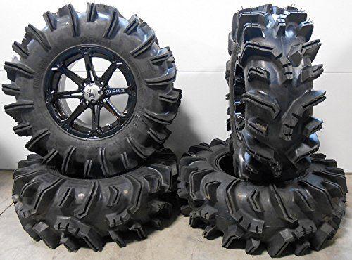 "Bundle - 9 Items: MSA Black Diesel 14"" ATV Wheels 29.5"" Terminator Tires [4x137 Bolt Pattern 12mmx1.25 Lug Kit]"