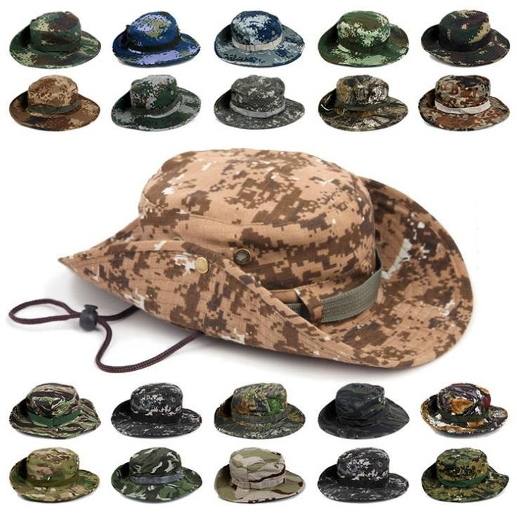 [Visit to Buy] Outdoor Travel Camping Hiking Hat Round Edges Wide Brim Camo Bucket Hat with String Summer Sun Protection Boonie for Men & Women #Advertisement