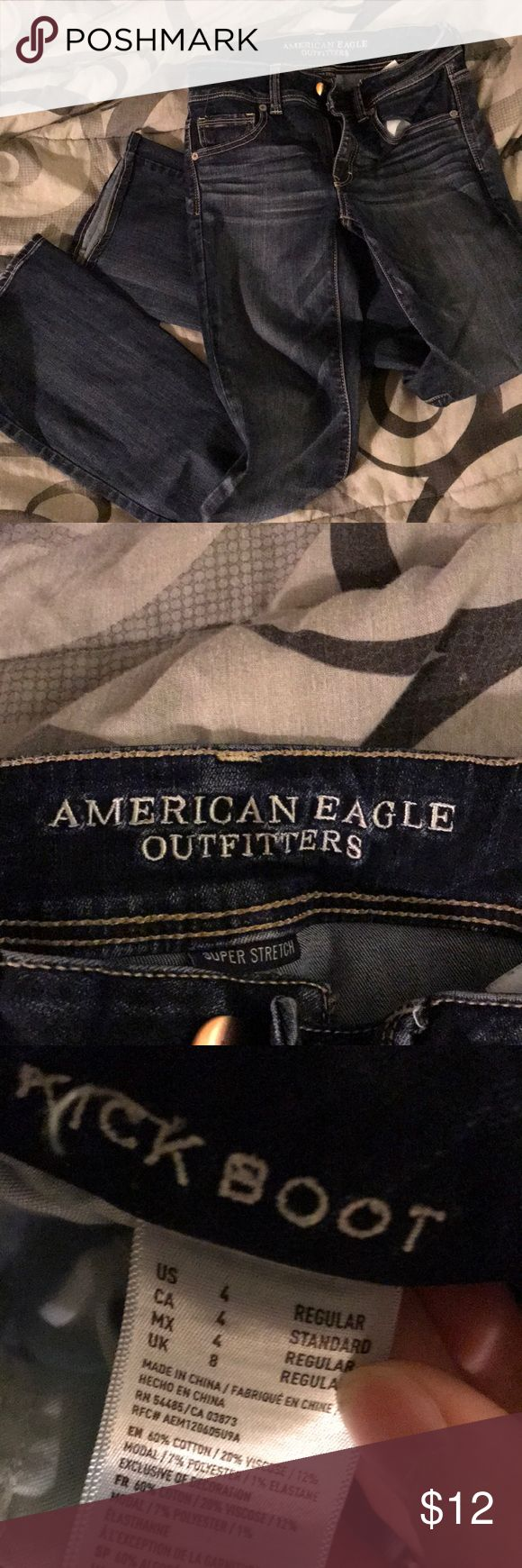 Dark blue jeans Dark blue, slight flare, good condition American Eagle Outfitters Jeans Boot Cut