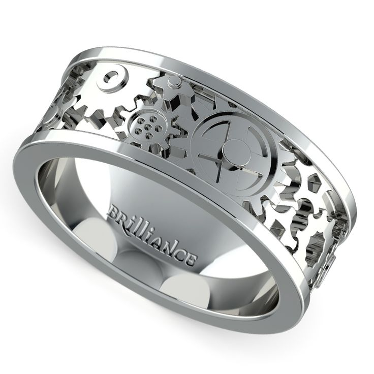 gear wedding rings. this men\u0027s band features a clockwork style gear design in channel band. available is wedding rings