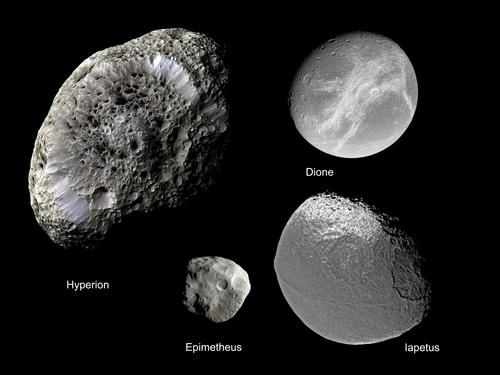 Several of Saturn's moons February 19, 2008  This collage showcases several of Saturn's moons.