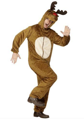 Pluche rendieren kostuum. Dit rendier kostuum is gemaakt van pluche en sluit aan de voorkant door middel van een rits. Het kostuum is geschikt voor volwassenen.