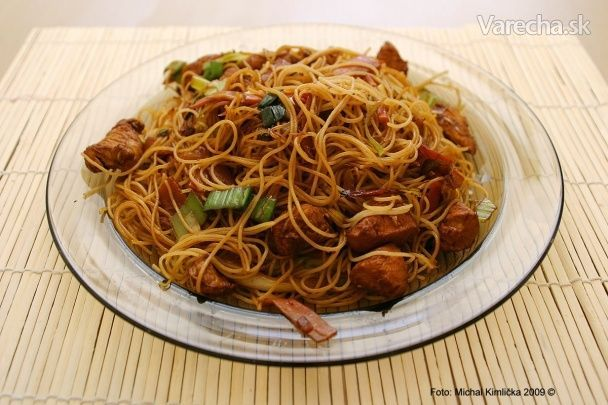 Opekané čínske ryžové rezance - Recept