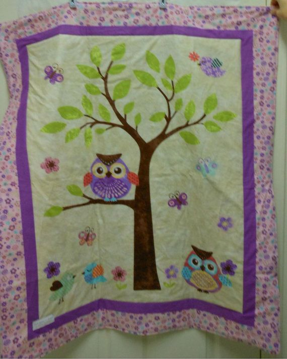 Boutique Quality Purple Owl Baby Quilt