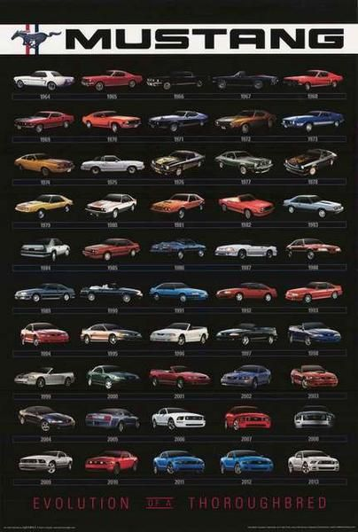 The Ford Mustang is one of the hottest cars of all time! A great poster of the design evolution from 1964(.5) to 2013 - each an auto classic! Fully licensed. Ships fast. 24x36 inches.