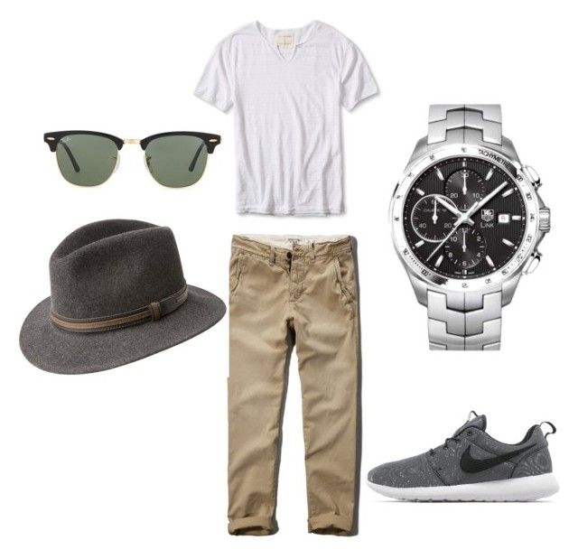 Summer casual outfit by mihai-cosmin on Polyvore featuring polyvore, Banana Republic, Abercrombie & Fitch, NIKE, Tag Heuer, Ray-Ban, Bailey, mens, men, men's wear, mens wear, male, mens clothing and mens fashion
