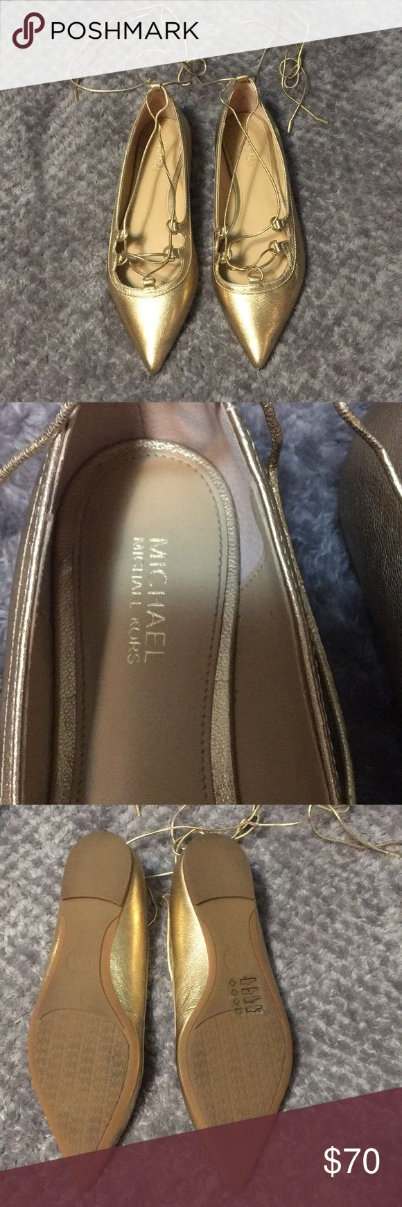Spotted while shopping on Poshmark: Michael Kors Gold Lace Up Flats (Tabby Flat)…