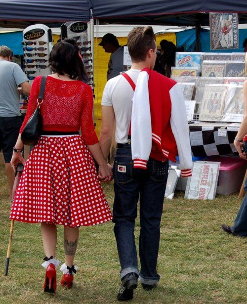 Rockabilly couple! Varsity jacket and all,  oh it's just so perfect, why can I never find a guy like this?! ~