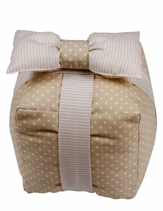 Decorative Handmade Box Pillow Beige with an impressive bow, that will decorate the nursery!