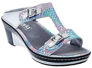 Alegria Leather Slip-on Sandals w/ Strap Details - Lara