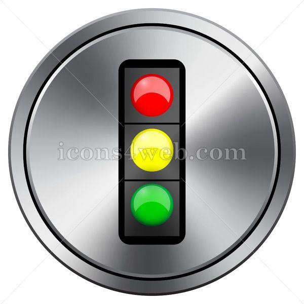 Traffic Light Icon Round Icon Imitating Metal In 2020 Light Icon Traffic Light Traffic