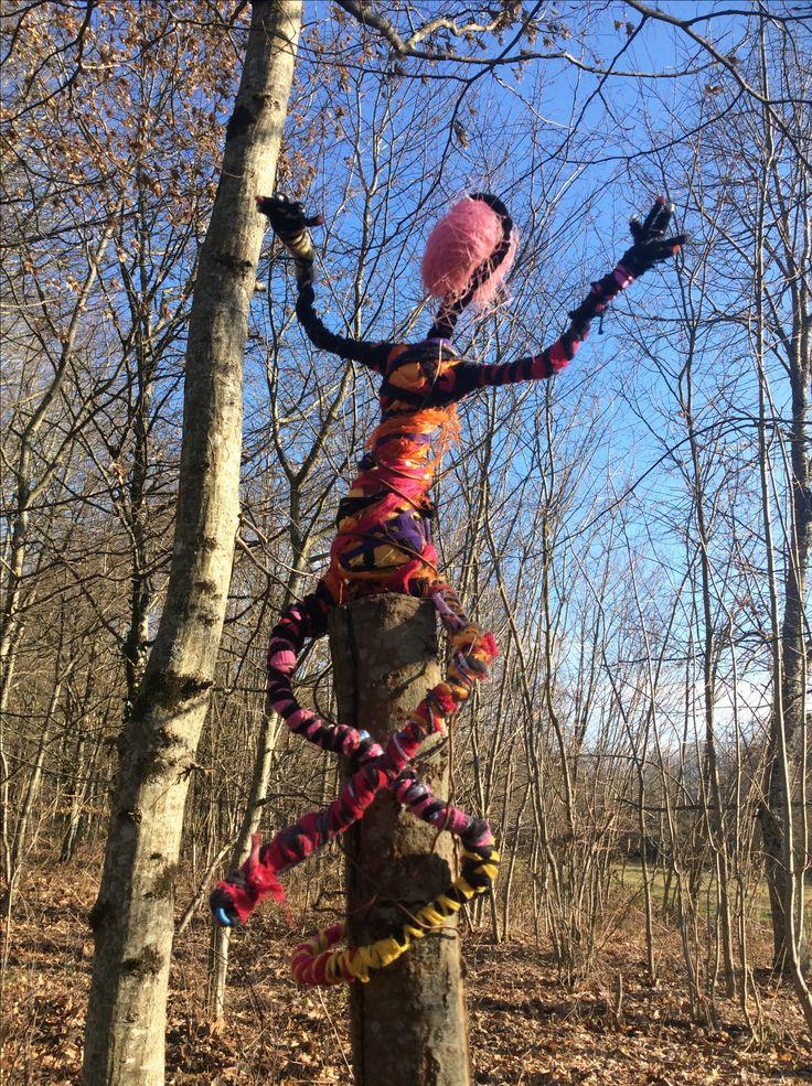Wire sculpture bound in rags by Artist Ann Lamb