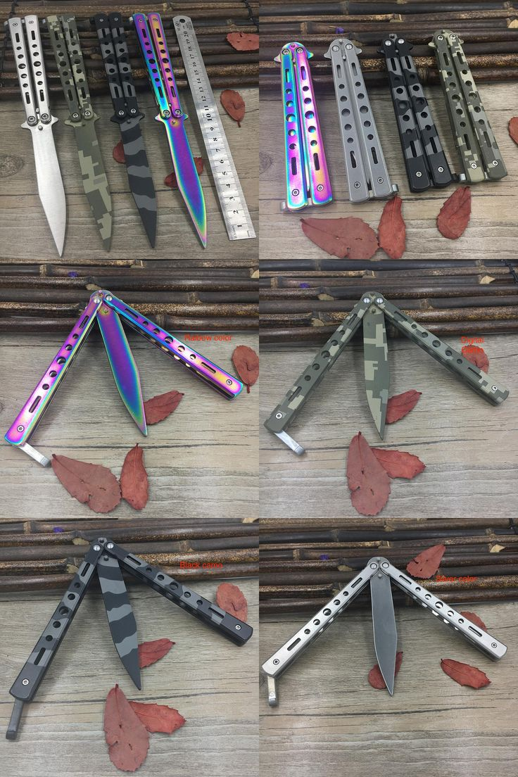 [Visit to Buy] Titanium Rainbow color 5Cr13Mov Stainless Steel knife Butterfly Training Knife butterfly knife balisong knife dull tool no edge #Advertisement