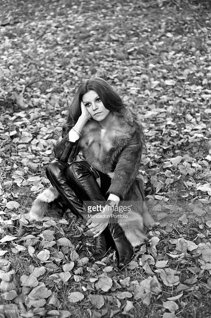 'Italian singer Milva, born Maria Ilva Biolcati, is in a park and sits on the…