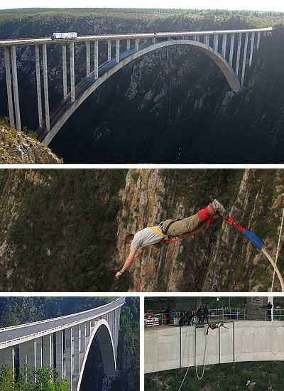 Known as the world's highest commercially operated bungee jump (Guinness Book of World Records) and the highest single span arch bridge in the world, the Bloukrans River Bridge is close to Nature's Valley, Western Cape, some 40 kilometres east of Plettenberg Bay in South Africa. The jump takes place from a platform below the roadway of the bridge, and the height to the valley floor is 216 metres (710 ft).