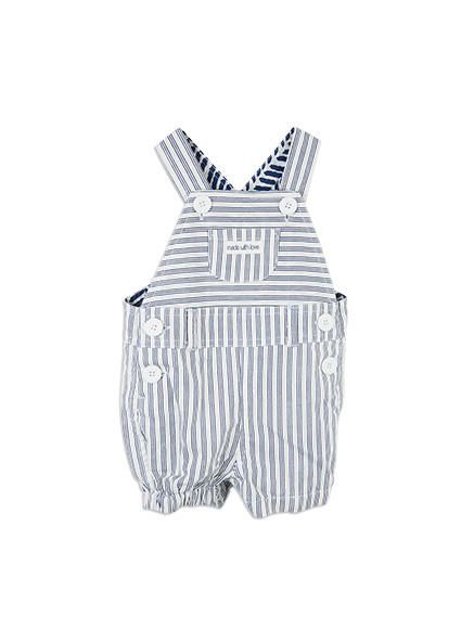 Woven shortie dungaree from Pumpkin Patch baby range, blue depths sizes nb to 6-12m. Style S6BN20001.