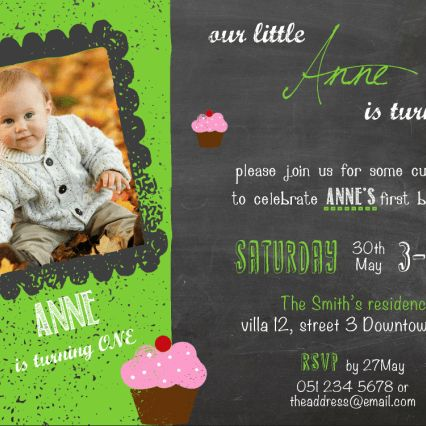 First Birthday party invitation on chalkboard background with cupcakes details. This sample uses lime theme colour, for other theme colour options, please see colour swatch