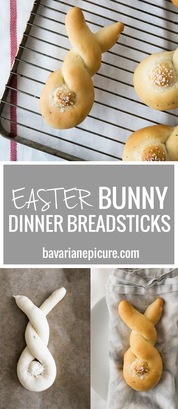These Easter Bunny Dinner Breadsticks are so easy to make and perfect for brunch or dinner! Made from homemade yeast dough and so cute with their salty tails. To make everyone at your table happy, I have a vegan and a non-vegan version for you.