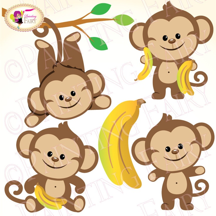 Clipart Buy 2 Get 1 Free Lovely Cute Boy Monkeys Bananas