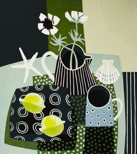 'Lemons and striped jug' | Linocut by Jane Walker | Once the image has been drawn onto the linoleum surface the artist uses a variety of cutting tools to carve away those areas of the image that are to remain clear of colour and only show the white of the paper. The linoleum sheet is then inked with a roller, and then impressed onto paper or fabric