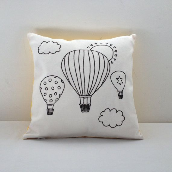 Colouring In Hot Air Balloon Cushion Cover  by SimplyAddColour