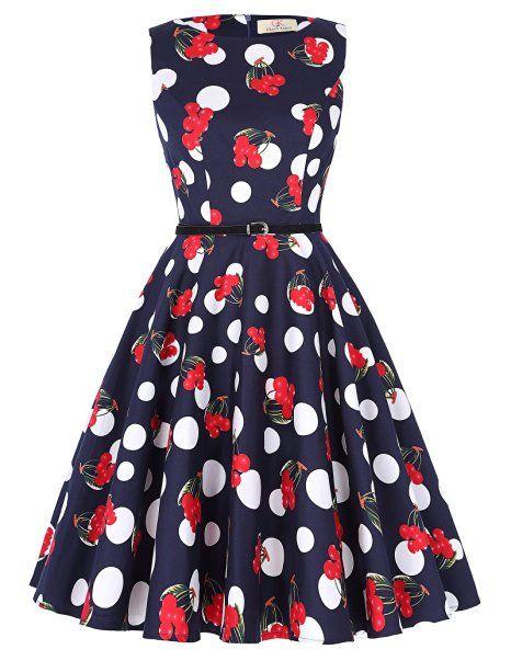 GRACE KARIN® 50s Rockabilly Kleid Sommerkleid Knielang Partykleider Cocktailkleider GD6086 New: Amazon.de: Bekleidung