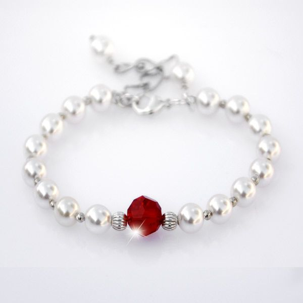Sadhbh Birthstone Bracelet - Every little girl needs her very own birthstone bracelet, especially made just for her.  An enchanting sterling silver design crafted with 6mm crystal white or ivory cream pearls and a sparkling 8mm Swarovski crystal accent in the birthstone colour of your choice. Finished with a sterling silver clasp and 3cm  extension chain.