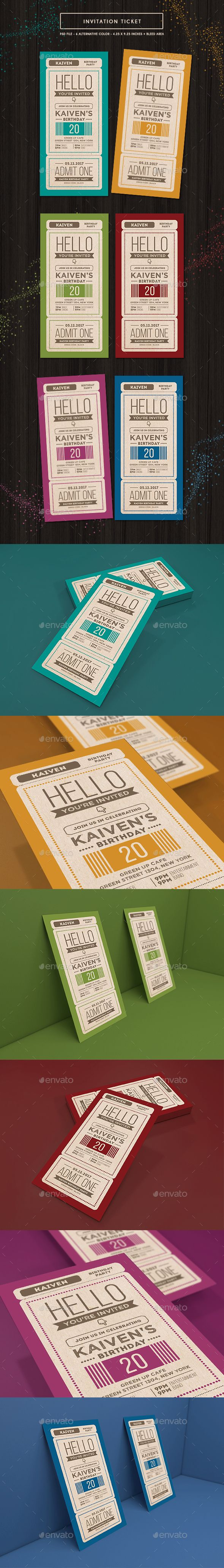 Invitation Ticket Template PSD                                                                                                                                                                                 More