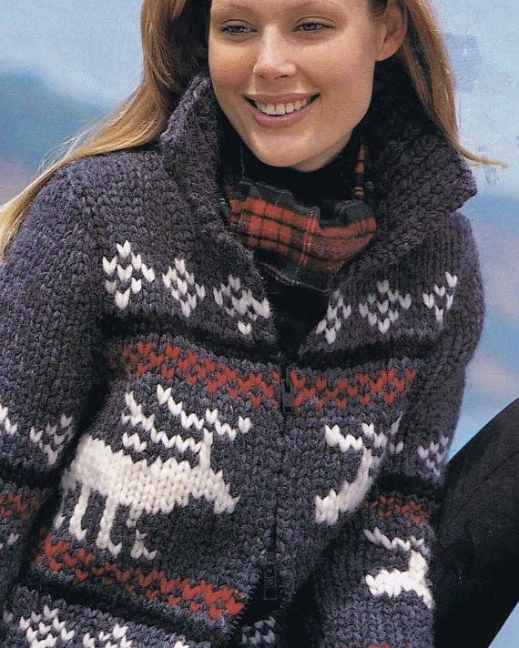 Reindeer Jacket Native Canadian West Coast Sweater Knitting Pattern