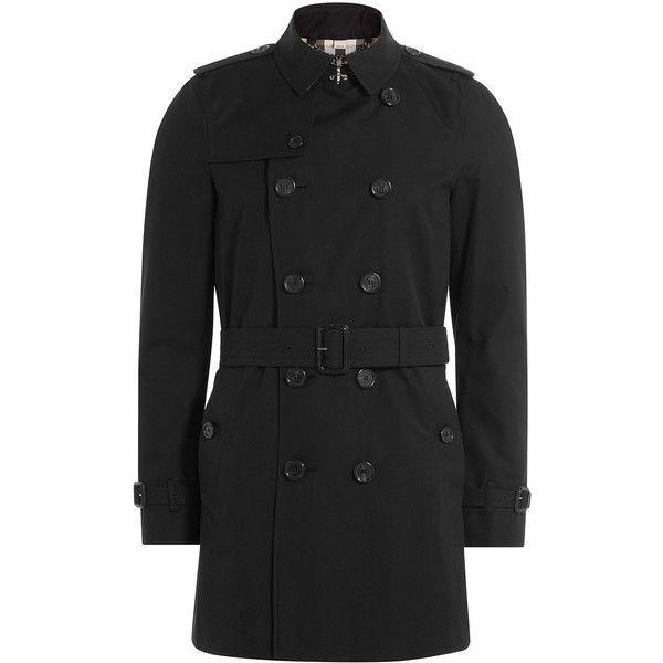 Burberry Cotton Mid Length Trench Coat ($1,810) ❤ liked on Polyvore featuring men's fashion, men's clothing, men's outerwear, men's coats, black, mens slim fit coat, mens slim trench coat, mens slim pea coat, mens trench coat and burberry mens coat