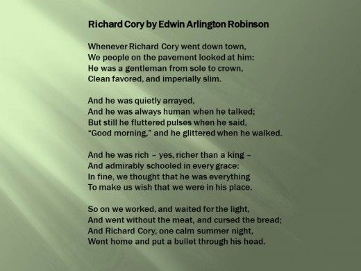 an explication of edwin arlington robinson's Richard cory - whenever richard cory went down town.