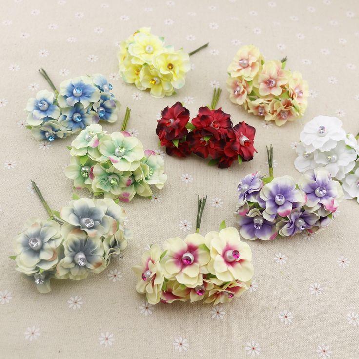 6 stks parel zijde goedkope Kunstbloemen krans hoofd kransen Voor bruiloft auto decoratie boeket decoratieve corsage fake bloem